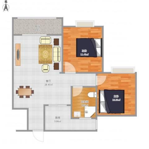 益星雅郡2室1厅1卫1厨88.00㎡户型图