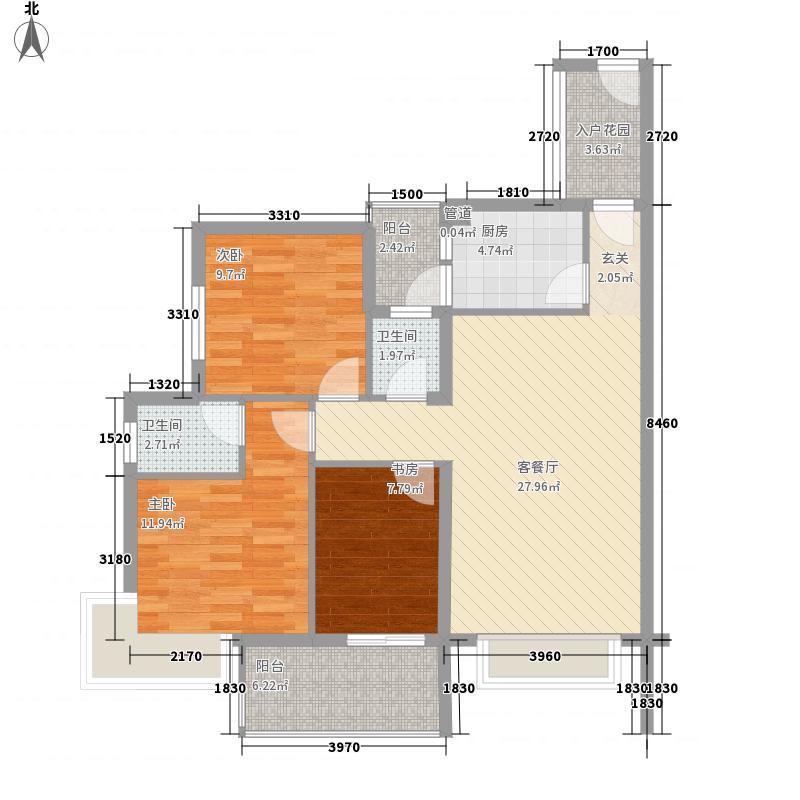 卡罗社区102.16㎡卡罗社区户型图D13室2厅2卫1厨户型3室2厅2卫1厨