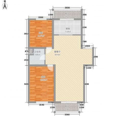 如意名苑2室1厅1卫1厨115.00㎡户型图