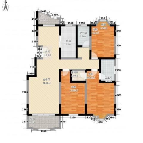 园景天下3室1厅2卫1厨123.00㎡户型图