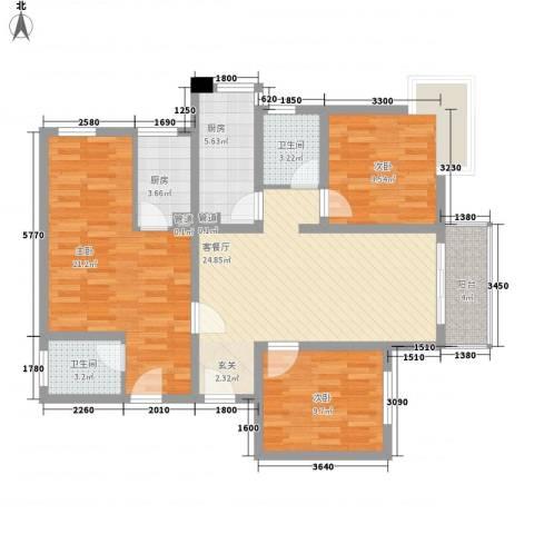 阳光小区3室1厅2卫2厨123.00㎡户型图