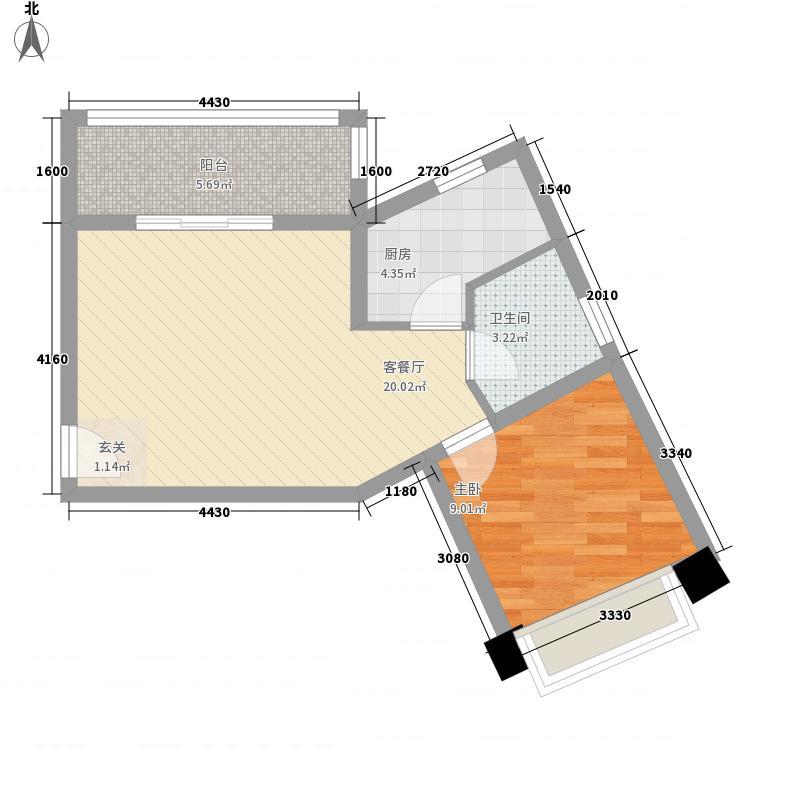 雅戈尔太阳城户型图一期高层1#F户型 1室1厅1卫1厨