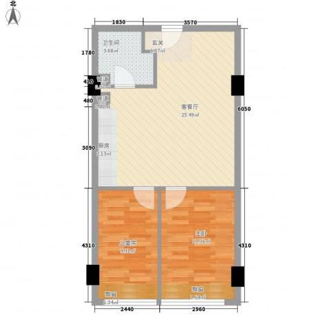 华业玫瑰东方Ⅱ期2室1厅1卫0厨70.00㎡户型图