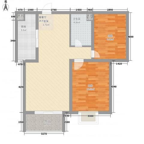 北部时光2室1厅1卫1厨92.00㎡户型图