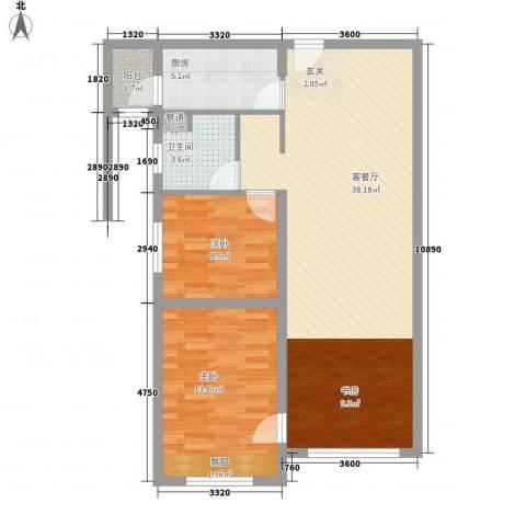 华业玫瑰东方Ⅱ期2室1厅1卫1厨97.00㎡户型图