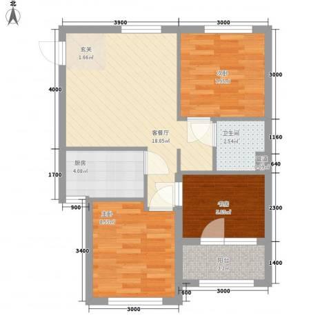 家豪圣托里尼3室1厅1卫1厨76.00㎡户型图