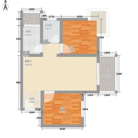 阳光小区2室1厅1卫1厨81.00㎡户型图