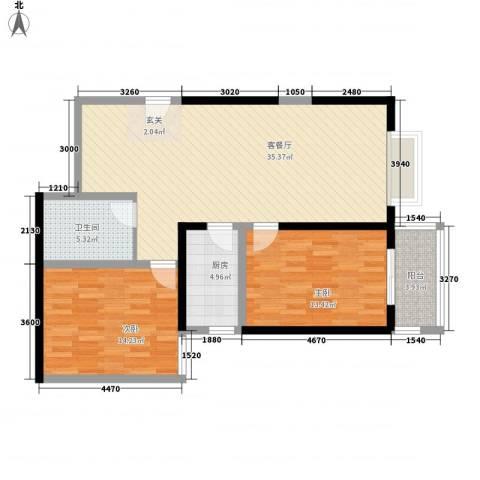 百花御景名都2室1厅1卫1厨106.00㎡户型图