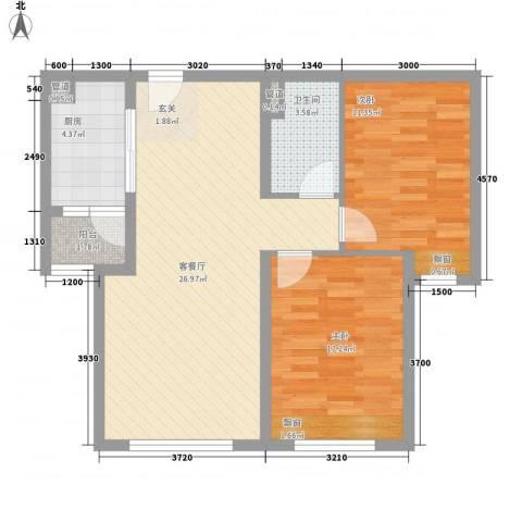 华业玫瑰东方Ⅱ期2室1厅1卫1厨89.00㎡户型图