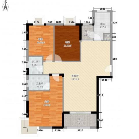 �口金利屋3室1厅2卫1厨132.00㎡户型图