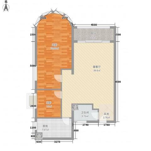 国际海景城2室1厅1卫1厨117.00㎡户型图