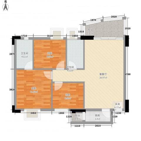 东田丽园三期3室1厅2卫1厨100.00㎡户型图