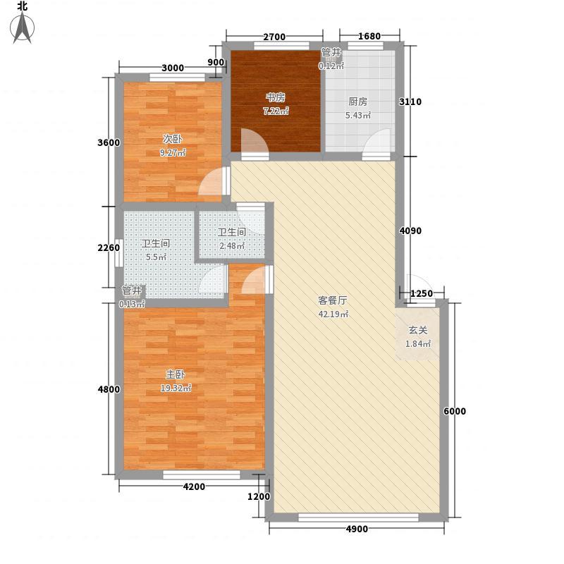 天安雅居11.00㎡户型3室2厅1卫1厨