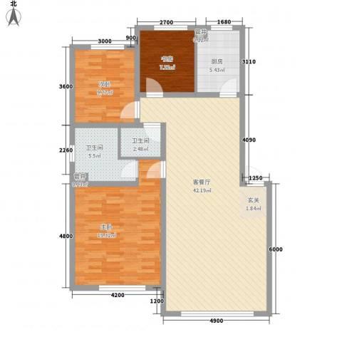 天安雅居3室1厅2卫1厨91.65㎡户型图