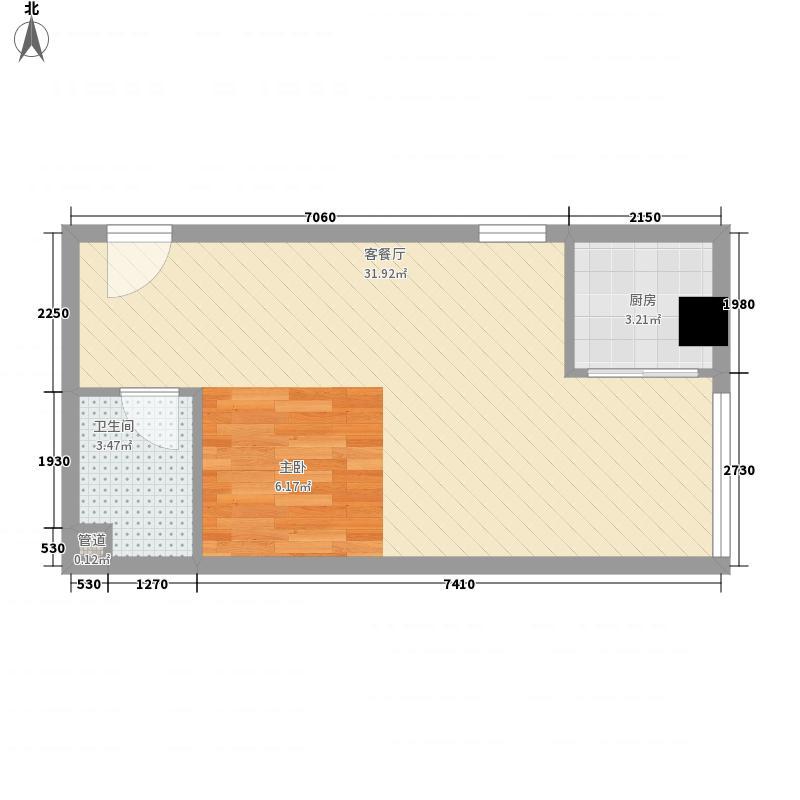 裕丰大厦43.38㎡06号房户型1室1厅1卫1厨