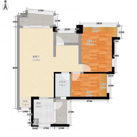 雅居乐曼克顿山2室1厅1卫1厨90.00㎡户型图