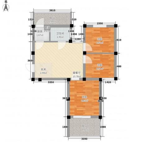 百悦家花园3室1厅1卫1厨74.00㎡户型图
