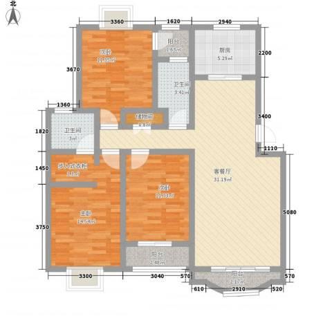 佳蓉・翰林苑3室1厅2卫1厨128.00㎡户型图
