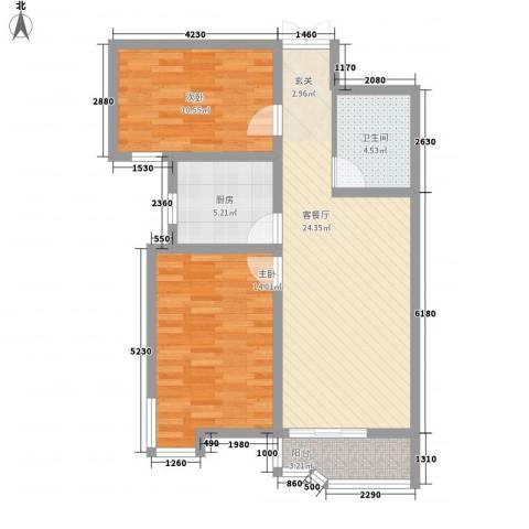 都市怡景三期2室1厅1卫1厨90.00㎡户型图