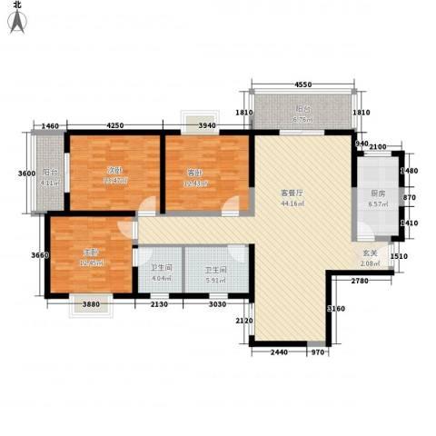 百花御景名都3室1厅2卫1厨160.00㎡户型图