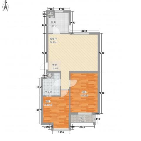 聚鑫小区三期2室1厅1卫1厨83.00㎡户型图