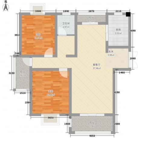 久和国际新城2室1厅1卫1厨81.14㎡户型图