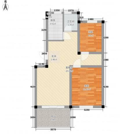 百悦家花园2室1厅1卫1厨82.00㎡户型图