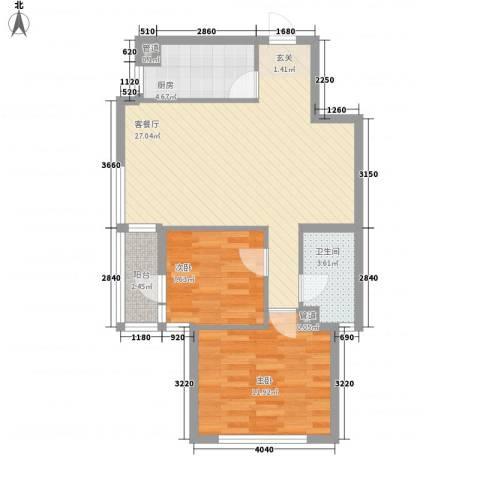 聚鑫小区三期2室1厅1卫1厨82.00㎡户型图