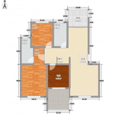 晨阳世纪城3室1厅2卫1厨150.00㎡户型图