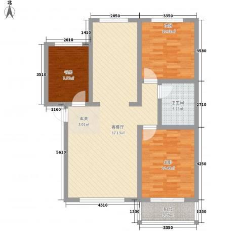戴河新城3室1厅1卫0厨114.00㎡户型图