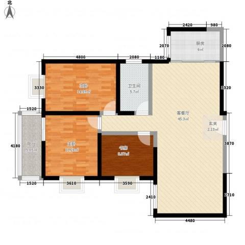百花御景名都3室1厅1卫1厨122.00㎡户型图