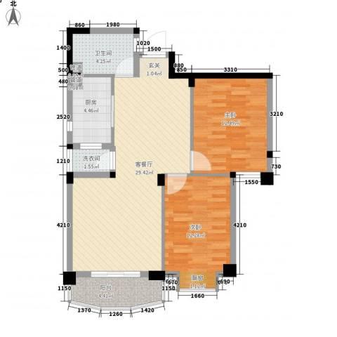 航天花园三期2室1厅1卫1厨92.00㎡户型图