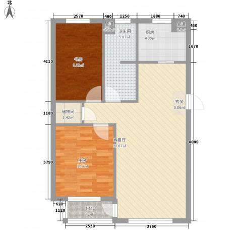 聚鑫小区三期2室1厅1卫1厨87.00㎡户型图