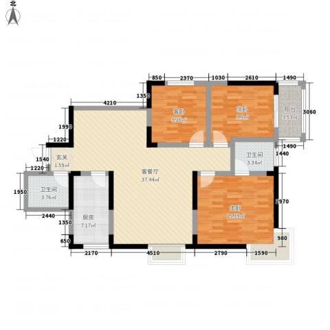 百花御景名都3室1厅2卫1厨120.00㎡户型图
