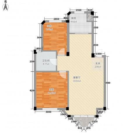 开世嘉年2室1厅1卫1厨90.00㎡户型图