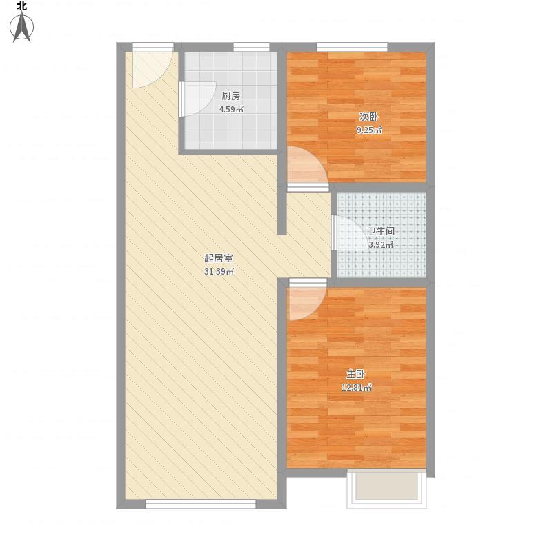 银川永泰城2号、4号、11号、12号O户90.00平米户型图