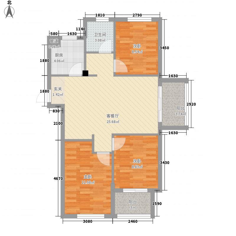 佰融玖珑湾户型图1#楼A1户型 3室2厅1卫1厨