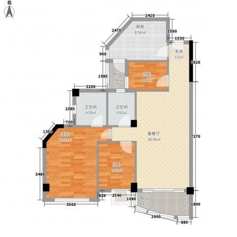 嘉多利山花园3室1厅2卫1厨114.00㎡户型图