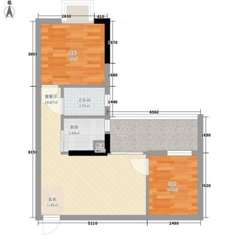 联冠广场2室1厅1卫1厨59.00㎡户型图