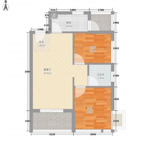 城果2室1厅1卫1厨68.00㎡户型图