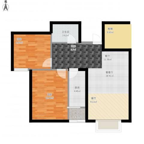 天和林溪2室1厅1卫1厨86.00㎡户型图