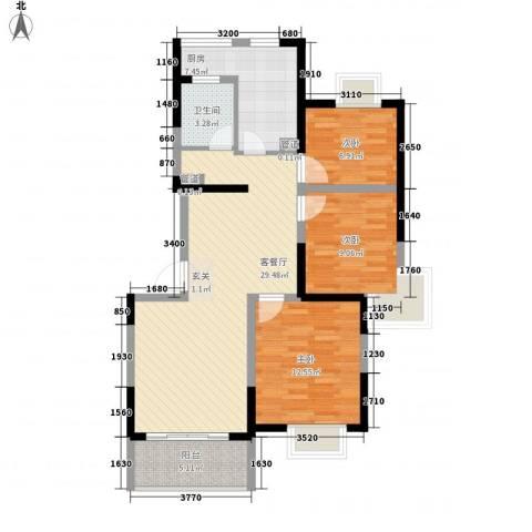 大华阳城七期阳城贵都3室1厅1卫1厨107.00㎡户型图