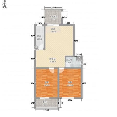 朝阳花园2室0厅1卫1厨75.68㎡户型图