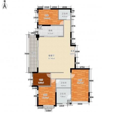 万科紫台4室1厅3卫1厨214.00㎡户型图