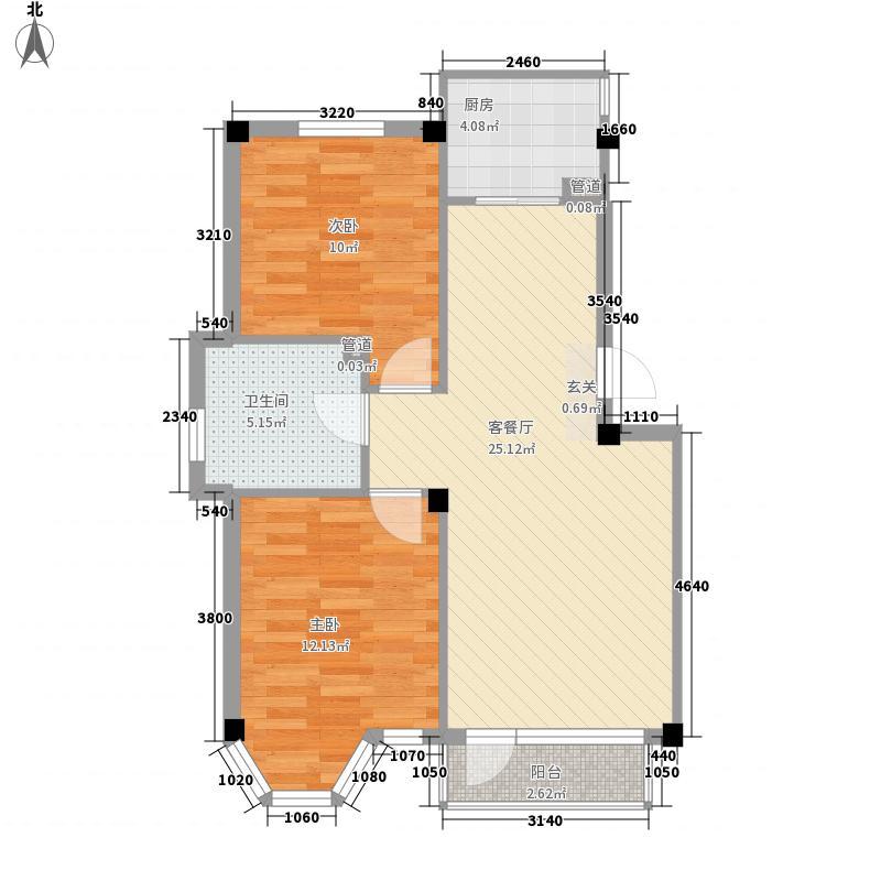柏林水郡83.00㎡柏林水郡户型图2室2厅1卫1厨户型10室