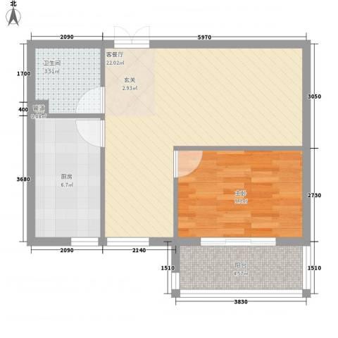 都市怡景三期1室1厅1卫1厨66.00㎡户型图