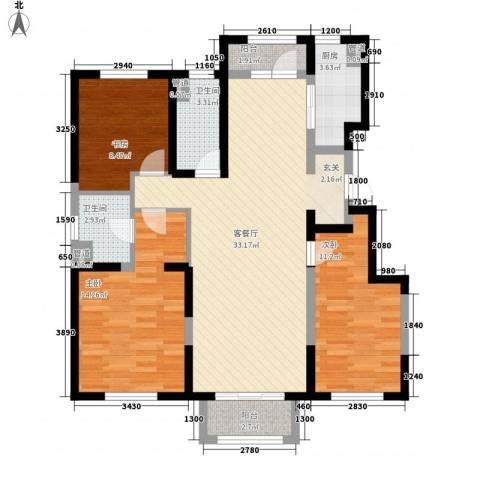 万科海港城3室1厅2卫1厨120.00㎡户型图