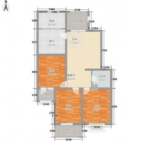 朝阳花园3室1厅1卫1厨126.00㎡户型图