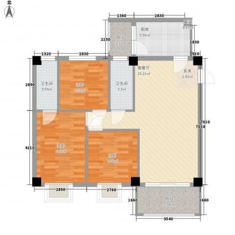 海悦新都会3室1厅2卫1厨100.00㎡户型图