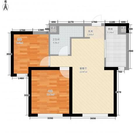 万科海港城2室1厅1卫1厨76.00㎡户型图